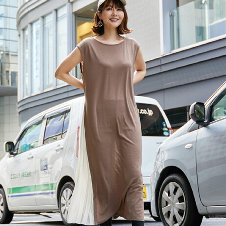 日本服飾代購 - 雙側邊開衩雪紡拼接無袖長洋裝-淺咖啡 (M(Free size))