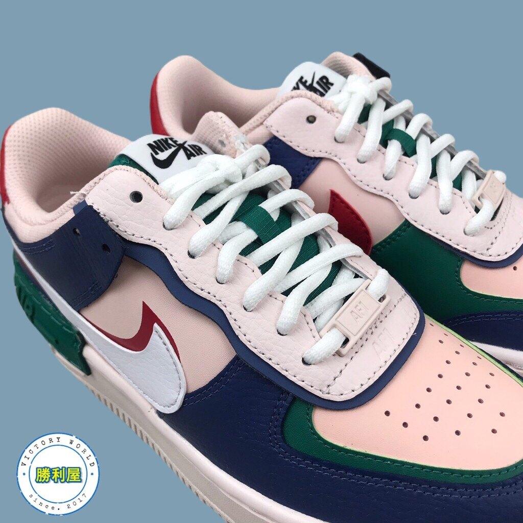 AIR FORCE 1 SHADOW 女鞋 休閒鞋 藍粉綠 接拼 皮革 厚底 增高 CI0919-400