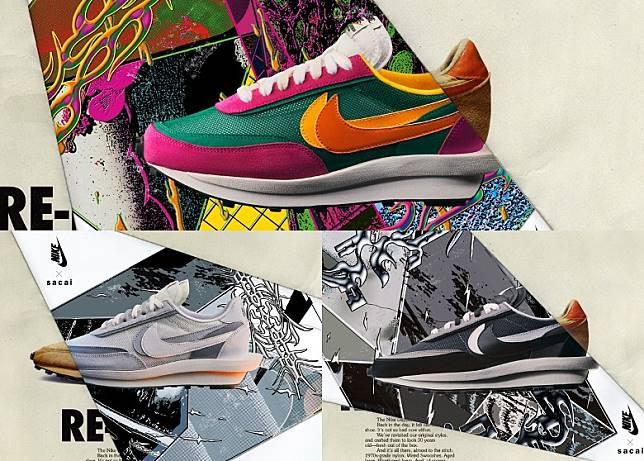 sacai x Nike LDWaffle今季就會推出三種配色。(互聯網)