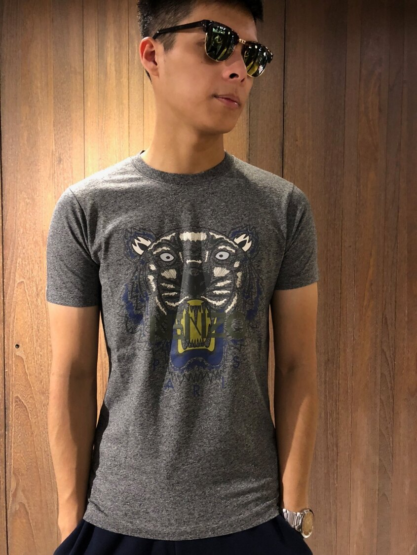 美國百分百【全新真品】KENZO 高田賢三 T恤 圓領 T-shirt 短袖 logo 虎頭 印圖 麻灰 S號 J071