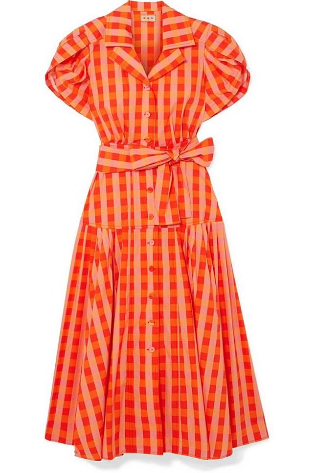 LHD橙色格仔圖案連身裙(互聯網)
