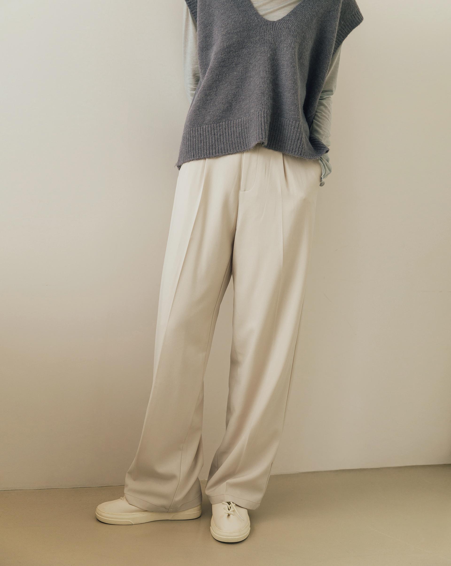 燙線設計更修飾/附全長內裡/雙側斜口袋/後裝飾假口袋