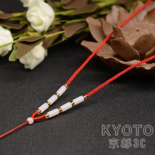 純手工掛件繩項鍊紅繩瑪瑙黃金翡翠玉佩水晶吊墜繩可調節男女