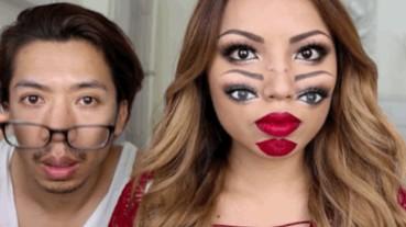 這個嚇人的「兩張臉」視覺效果 居然全靠女人的超強化妝術?