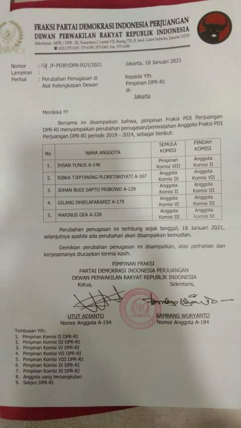 PDIP Geser Ribka Tjiptaning ke Komisi VII DPR Usai Tolak Divaksin Corona  (1)
