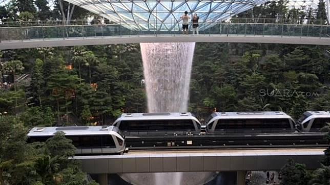 Dua pengunjung tengah berada di Canopy Bridge, menikmati pemandangan taman hutan tropis dan sky train antarterminal di Bandara Changi, Singapura [Suara.com/ukirsari].