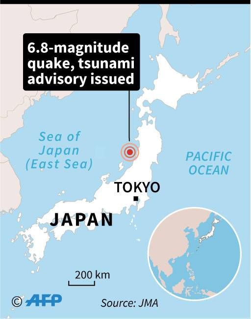 Map of Japan locating the epicentre of a 6.8-magnitude quake Tuesday. The government has issued a tsunami advisory.