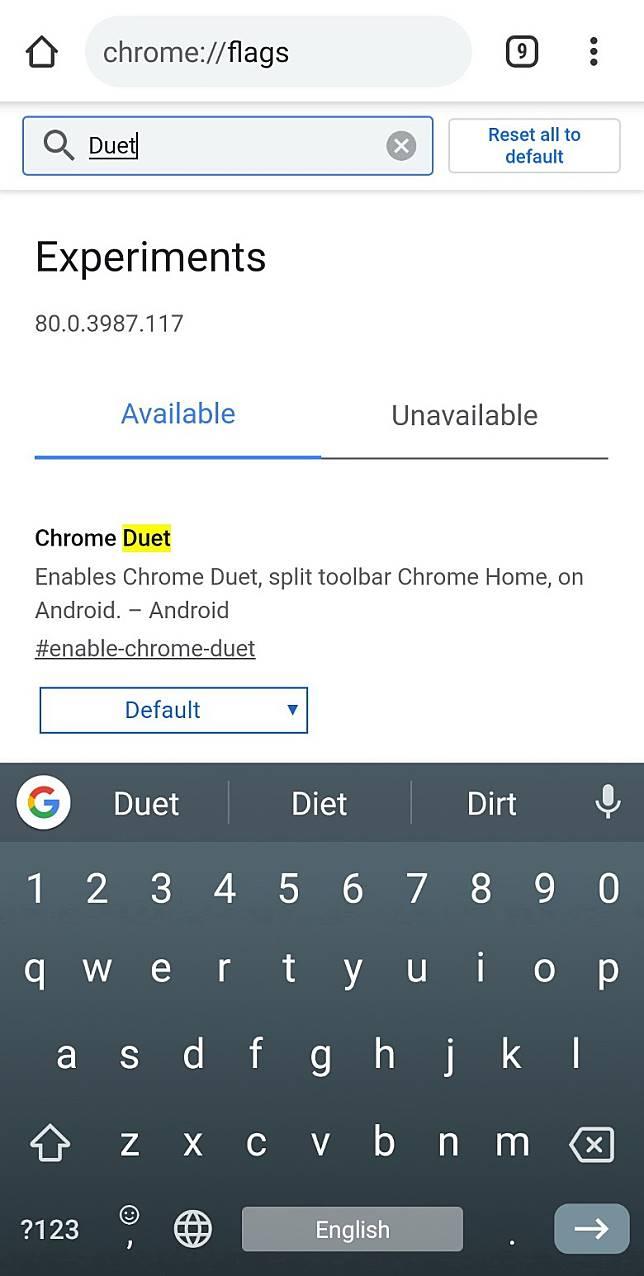 Step 2:在實驗性功能的頁面搜尋Chrome Duet(互聯網)
