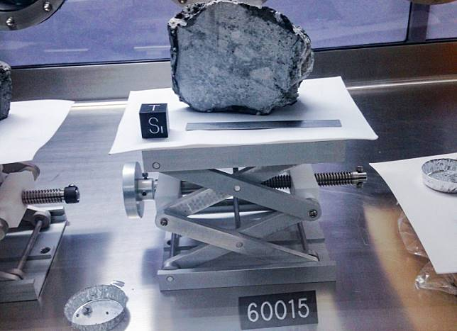 A Moon rock is on display at the Johnson Space Center in Houston on May 23, 2019.