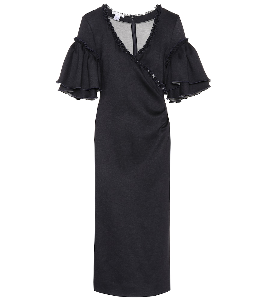 Oscar de la Renta's wrap-style dress comes crafted with stretch for a form-fitting effect.