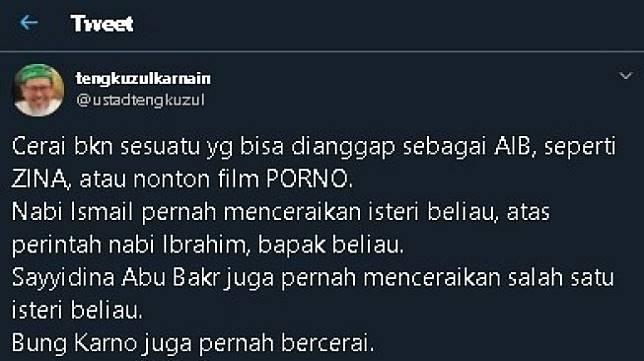 Cuitan Tengku Zul soal perceraian. (Twitter/@ustadtengkuzul)