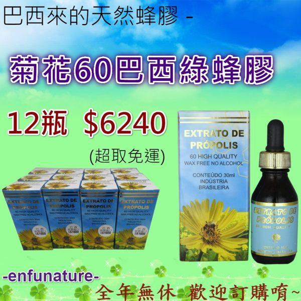 巴西來的天然蜂膠 - 菊花60無酒精巴西綠蜂膠 12瓶 優惠價 $6240
