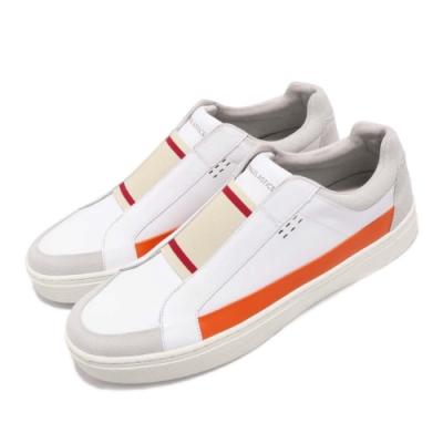 ROYAL ELASTICS 型號: 04291020 品名: King 低筒 時尚 無鞋帶 好穿脫 色塊拼接 皮革鞋面 白 橘