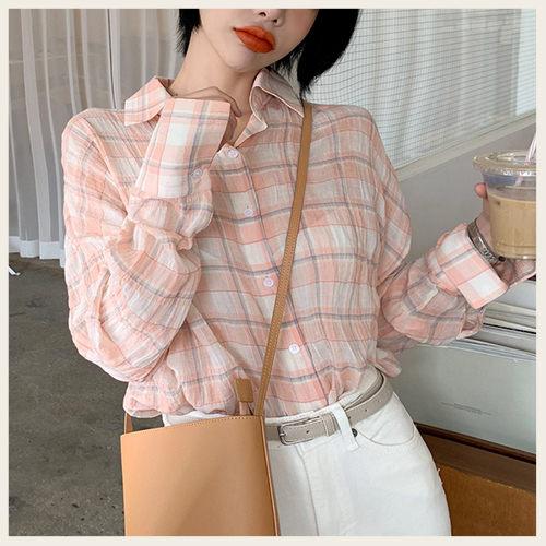 ✦Styleon✦正韓。經典格紋輕薄排釦長袖襯衫上衣。韓國連線。韓國空運。0626。