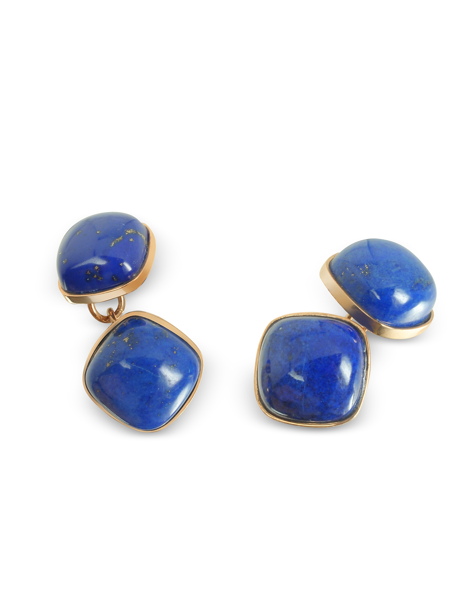 These classic 18K gold square cufflinks are adorned by beautiful Lapis Lazuli stones. An extraordina