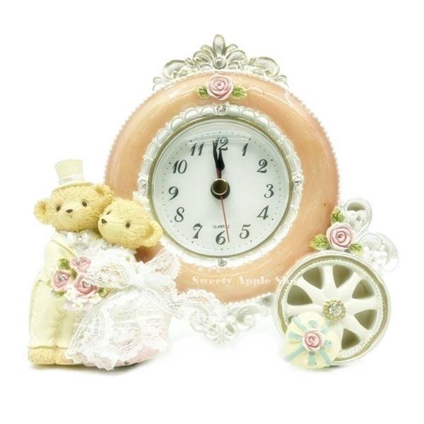 日本限定 婚禮小熊 馬車造型 時鐘 擺飾 婚禮禮品