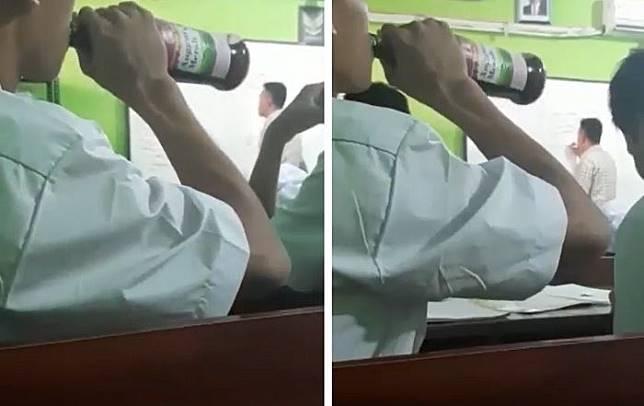 Viral siswa SMA tenggak minuman keras dalam kelas, di saat guru tengah mengajar
