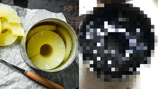 有網友在家中發現過期5年的鳳梨罐頭。圖/翻攝自推特nnsmr1781
