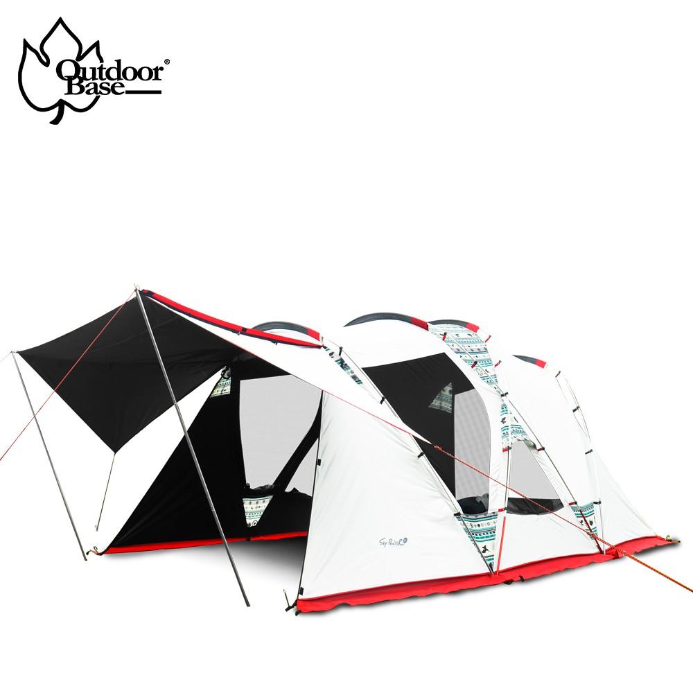 Outdoor Base 彩繪天空歡樂家庭帳✔大空間 - 三角雙側翼 超大空間✔polar nigh科技遮光塗層✔懸吊式內帳,可放置歡樂時光L號✔兩側加大透氣沙網,360度空氣對流不燜熱✔四層遮光阻陽