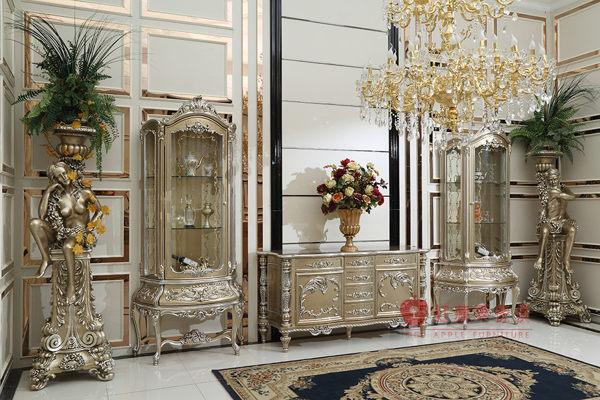 [紅蘋果傢俱] F101S-1 洛克思瑞系列 法式酒櫃 展示櫃 玄關櫃 壁爐 新古典 電視櫃 實木雕刻 實體賣場