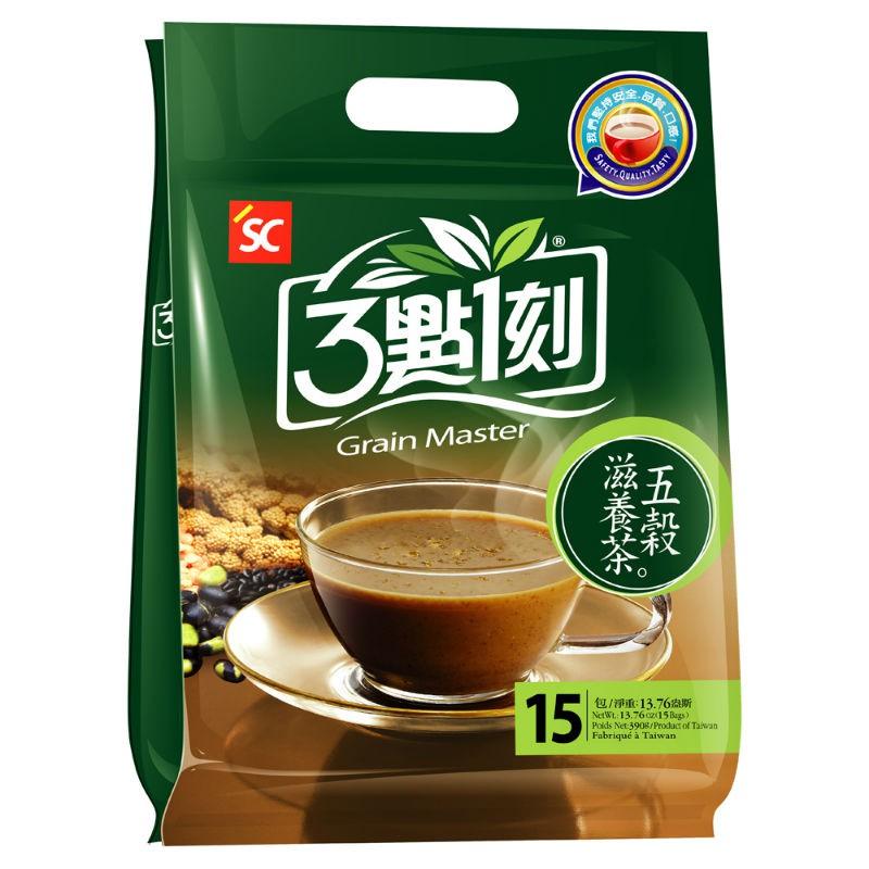 五穀滋養茶是由數十種穀、麥、豆類萃取物及漢方材料,加上美國進口的天然穀粉及糙米酵素、天然果寡糖調製而成,純天然成份,完全不含防腐劑及化學添加物。為了使高含量之纖維質、鈣質及各種營養成份不流失,製作過程