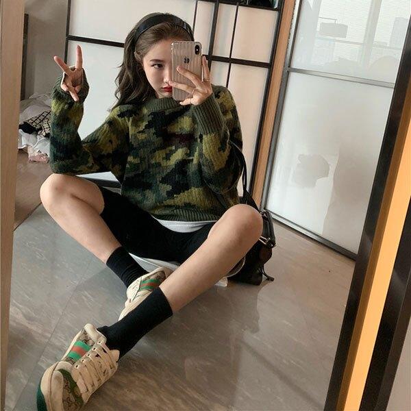 綠色 迷彩 毛衣 針織衫 長袖 上衣 T 韓國 ANNA S.