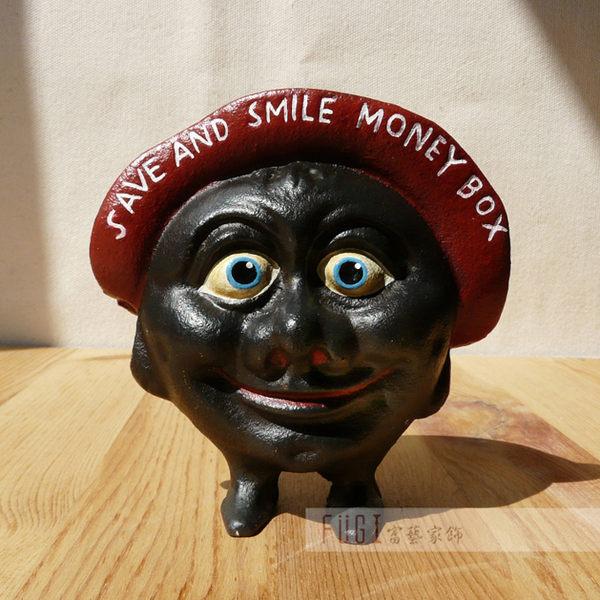 【富藝家飾】 鑄鐵製微笑黑人存錢筒 撲滿