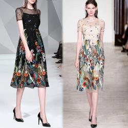 KEITH-WILL歐風 (預購) 超有型質感生活重工藝拼接網紗洋裝