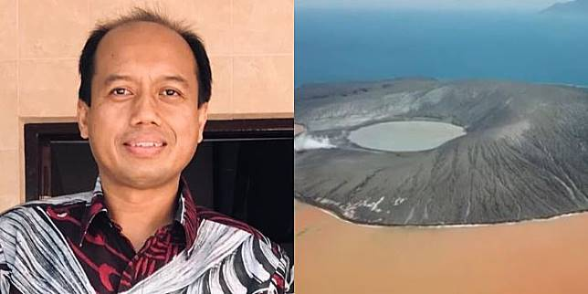 Sutopo Purwo Nugroho (kiri) - Kondisi Gunung Anak Krakatau (kanan).