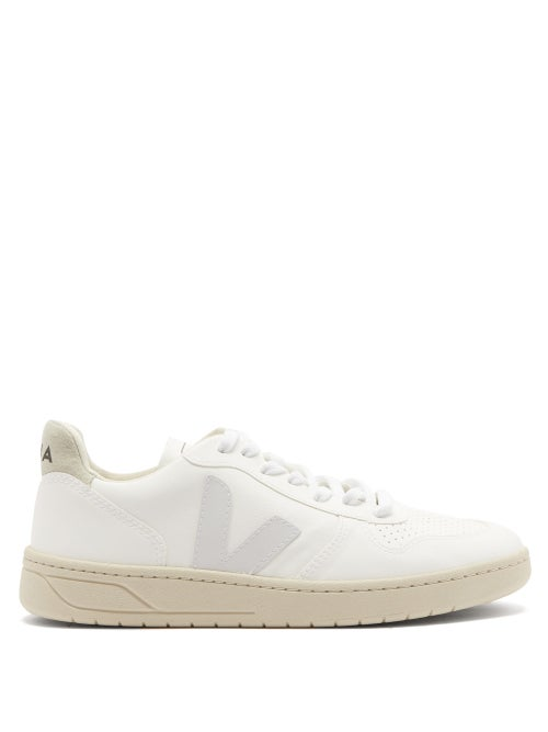 Veja - Veja celebrates a decade of ecologically minded design with these white V-10 trainers, which