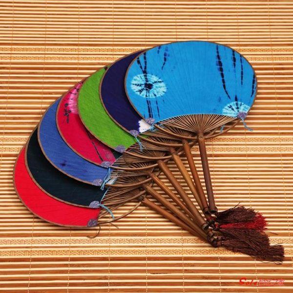 蒲扇 日式布面竹蒲扇 手工文藝團扇竹芭蕉扇 夏季圓扇子老工藝古典紙扇 8色