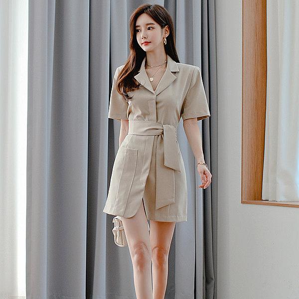 韓系 洋裝 2020夏裝新款S-XL韓版氣質修身系帶西裝領時尚漏背西裝式連身裙