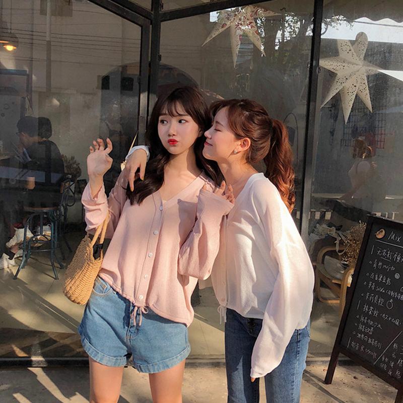 春夏女裝2019新款韓版寬鬆閨蜜裝薄款針織防晒衣chic外套空調衫女