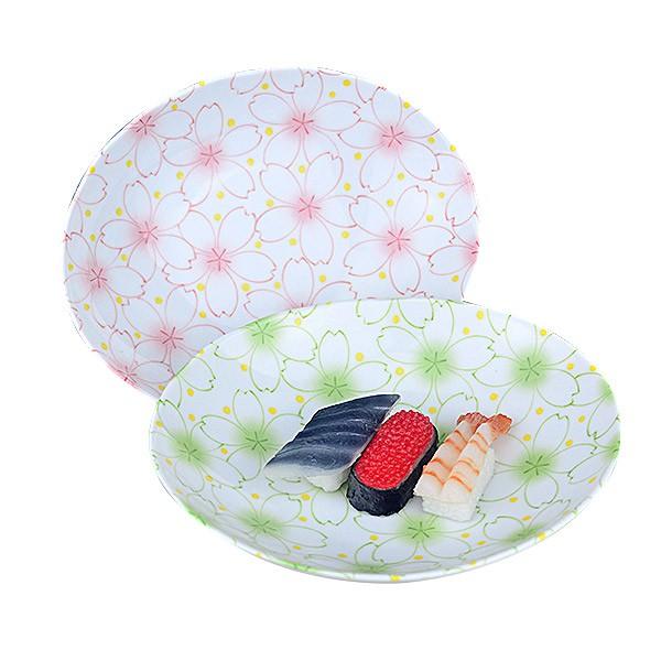 【堯峰陶瓷】日式大東亞櫻花系列7.5吋橢圓盤 粉櫻/綠櫻 蛋糕盤 料理盤 野餐擺盤適用