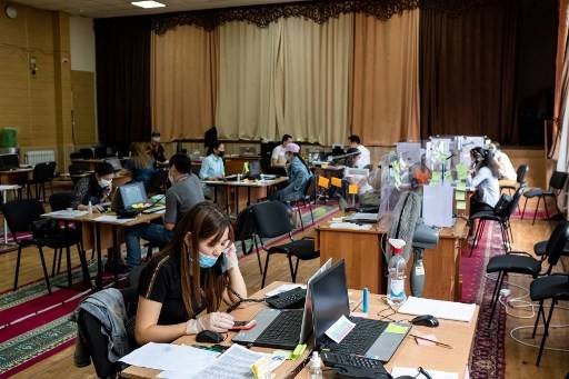 Medics and medical students work at a coronavirus disease call centre in Bishkek,  Kyrgyzstan on July 5, 2020.
