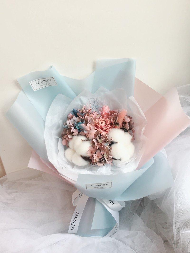 獨角獸羽毛 藍粉乾燥花束 情人節花束