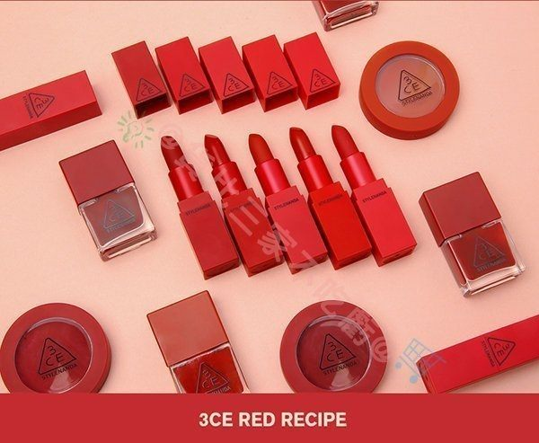 3CE 春夏新款 Red RECIPE系列 紅色系 紅玫瑰唇膏 乾燥玫瑰 唇膏 5色 紅色系顯色唇膏