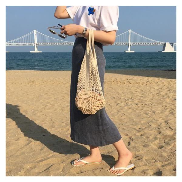 韓國ins網兜包鏤空水果環保購物袋編織手提袋海邊度假沙灘漁網包
