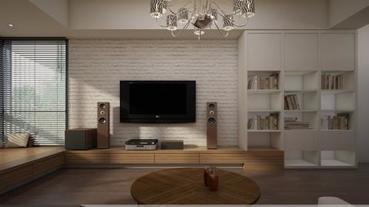靈活牆面設計X混搭多變材質,讓客廳空間變大了!