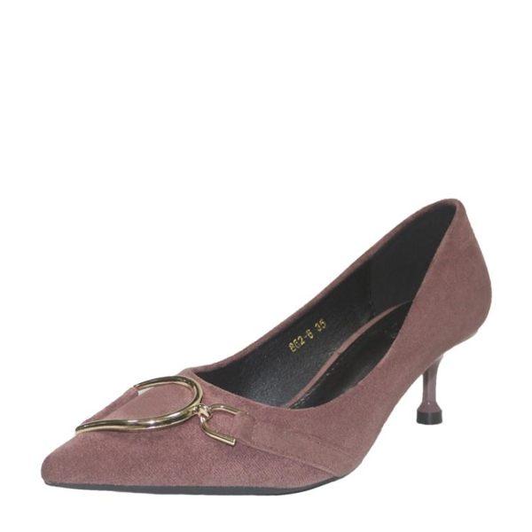 女高跟鞋 韓版女鞋子 金屬扣撞色工作絨面淺口尖頭新款細跟鞋【多多鞋包店】ds4401