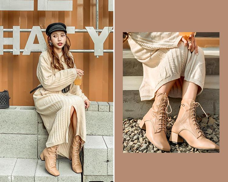 D+AF 情人節穿搭 針織洋裝 綁帶靴 奶茶靴