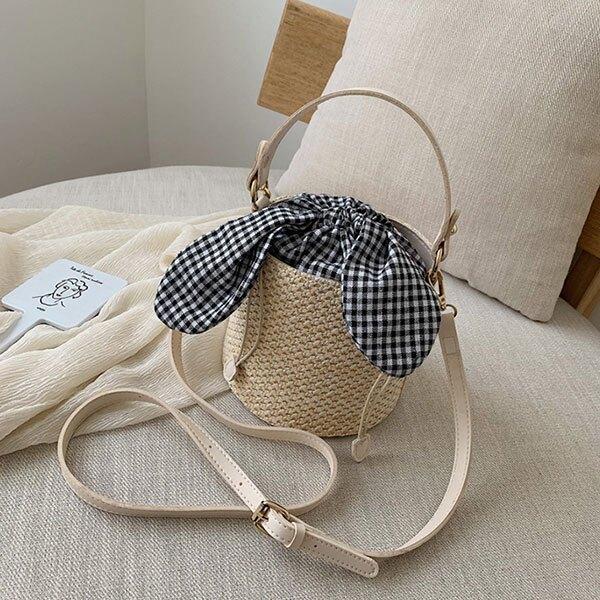 格子 束口 水桶包 皮革 草編包 編織包 斜跨包 側背包 斜背包 帆布包 手提包 小包 包包 網紅 正韓 ANNA S.