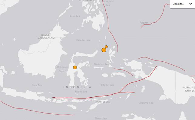 The US Geological Survey's website shows three earthquakes in North Sulawesi, Central Sulawesi, and Maluku on March 23 and 24.