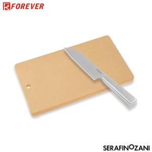 【FOREVER X 尚尼】無毒抗菌橡膠中砧板+不鏽鋼主廚刀
