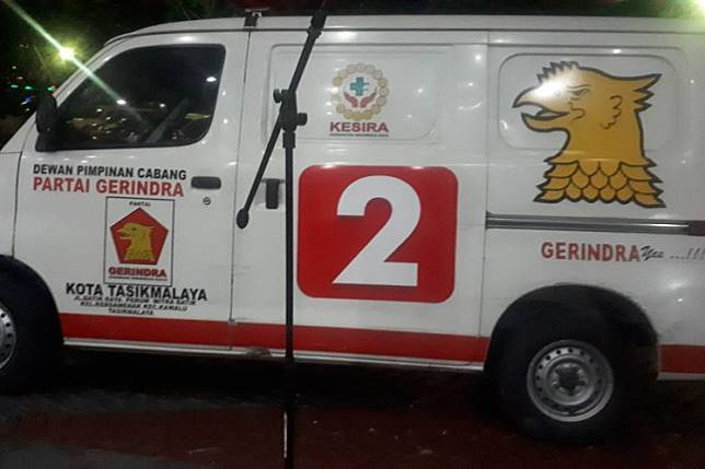 An ambulance marked with the Gerindra Party logo was found filled with rocks during riots protesting the reelection of Joko