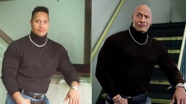 巨石強森吐槽 21 年前自己的穿搭品味 搞笑重現當年經典的黑色高領!