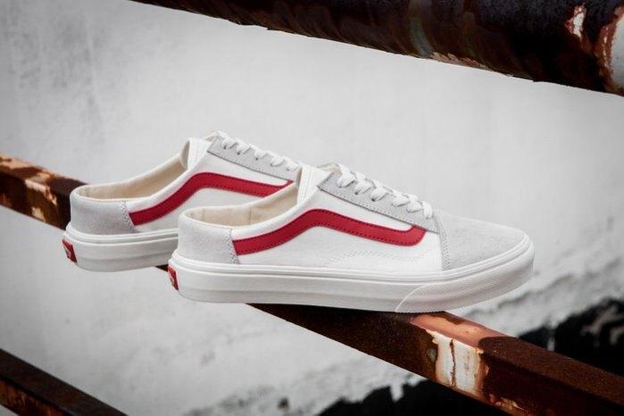 KUMO SHOES-現貨VANS OLD SKOOL MULE 米白 紅線 穆勒鞋 帆布 懶人鞋 情侶鞋V36CF ME WERD