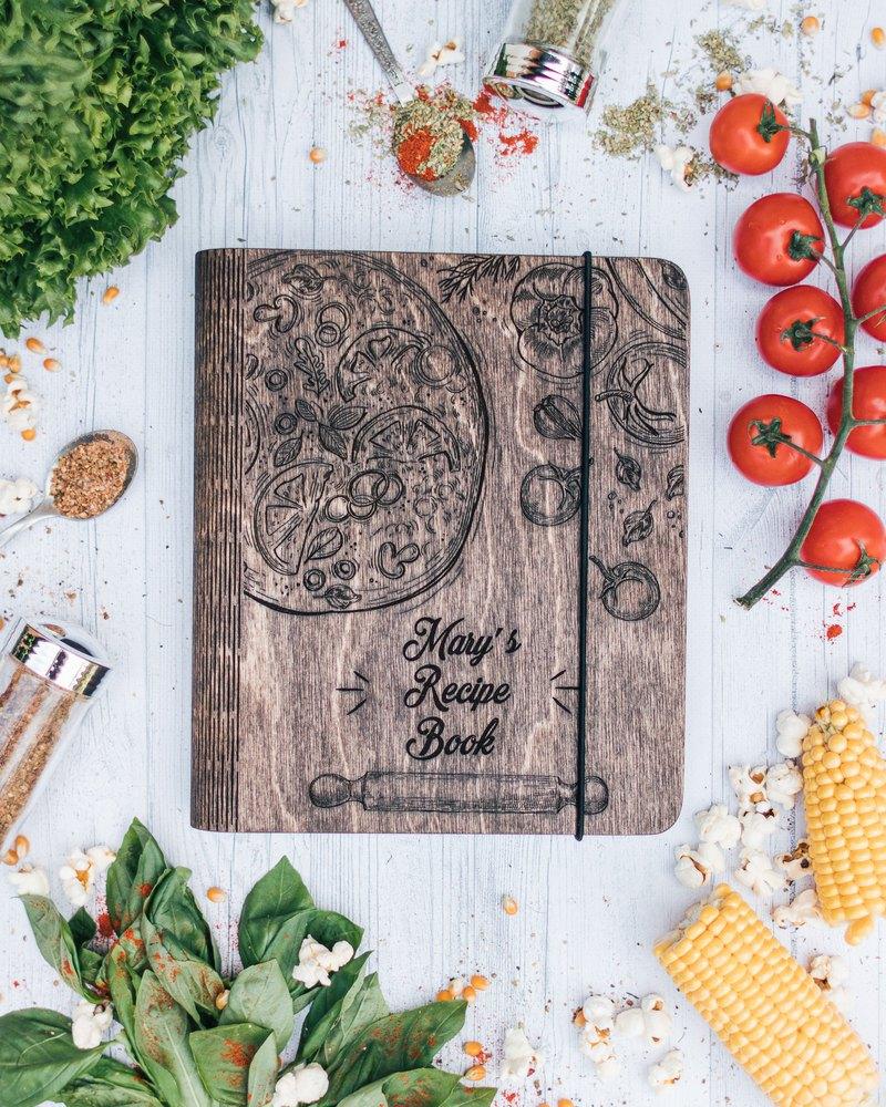 這本精彩的木製雜誌也可以用作食譜書,寫日記,寫生簿,相冊,留言簿