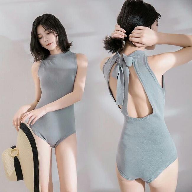 FOFU-泳裝簡約素色簡約針織露背連身泳裝【08G-A0390】