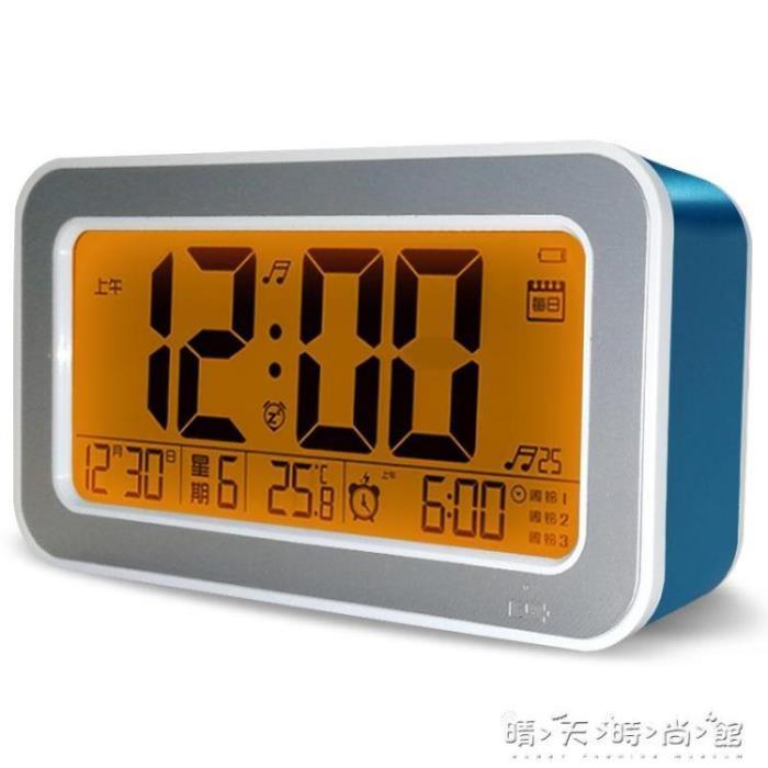 創意鬧鐘科艦 充電鬧鐘學生創意靜音時鐘智慧電子音樂床頭夜光數字多功能